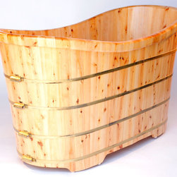 "Alfi AB1105 63"" Free Standing Cedar Wood Bath Tub - APPLY COUPON CODE ""EDHOUZ50"" AT CHECKOUT. JUST OUR WAY OF SAYING THANKS."