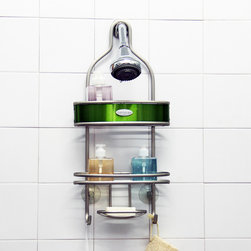 Samsonite - Samsonite Shower Caddy - Keep your bathroom organized with this deluxe over the head shower caddy. The two tier caddy has a stainless steel exterior with a hint apple green in the center to add extra style.