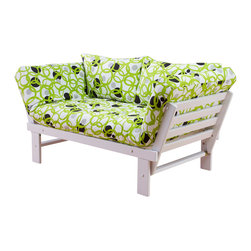 Kodiak Furniture - Elite White Futon Lounger in Full Circles, Futon Set Without Drawer - This bright futon set consist of solid wood frame, mattress, tufted cover and pillows. The futon can be transformed from sofa position into guest bed or lounger. The frame is made of high quality solid wood to serve through generations. You can choose the futon set with matching drawer. Mattress upholstered in Full Circles fabric.