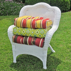 Blazing Needles - Blazing Needles 19 x 19 Outdoor Wicker Chair Cushion Multicolor - 93182-REO-33 - Shop for Cushions and Pads from Hayneedle.com! Forget replacing your indoor or outdoor wicker chair. Just update it with the Blazing Needles Outdoor Wicker Chair Cushion. Available in a variety of sizes and colors these original chairs are great for casual rooms and hours of relaxing. Filled with eco-friendly super comfy crushed poly and crafted from premium weather-resistant outdoor fabrics. This premium outdoor fabric offers UV light and weatherproof protection. Get ready to relax. About Blazing NeedlesBlazing Needles L.P. specializes in the manufacture of cushions pillows and futons. As a sister company of International Caravan Inc. Blazing Needles provides a wide variety of cushions to fit the frames and furniture pieces made by International Caravan. In particular Blazing Needles' production of papasan cushions occupies a unique niche within their industry and sets them apart as a prime supplier for certain retailers. Other services they provide include contract filling sewing and import sourcing. The headquarters of International Caravan and Blazing Needles is located in Fort Worth Texas.