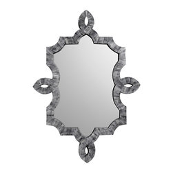 "Emporium Home - Emporium Home Bethany Grey Mirror - Hand-applied gray bone inlay highlights the arabesque silhouette of the Bethany mirror. Its unique shape and chic style punctuate the wall with a touch of glamour. 34.25""W x 48.25""H. Hanging hardware included."