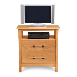 Copeland Furniture - Copeland Furniture Monterey 2 Drawer + TV Organizer Dresser 2-MNT-25-03 - The Monterey Bedroom gives traditional Arts & Crafts an Asian touch. The clean lines of the Monterey bed are perfectly complemented by a selection of case pieces. All pieces are crafted in solid cherry hardwood.