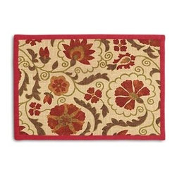 Red & Beige Suzani Custom Placemat Set - Class up your table's act with a set of Tailored Placemats finished with a contemporary contrast border. So pretty you'll want to leave them out well beyond dinner time! We love it in this eclectic swirling suzani in rust red and grass green on tan linen.