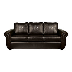 Dreamseat Inc. - Horse - Equestrian Chesapeake BLACK Leather Sofa - Check out this awesome Sofa. It's the ultimate in traditional styled home leather furniture, and it's one of the coolest things we've ever seen. This is unbelievably comfortable - once you're in it, you won't want to get up. Features a zip-in-zip-out logo panel embroidered with 70,000 stitches. Converts from a solid color to custom-logo furniture in seconds - perfect for a shared or multi-purpose room. Root for several teams? Simply swap the panels out when the seasons change. This is a true statement piece that is perfect for your Man Cave, Game Room, basement or garage.