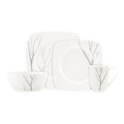 Lenox - Lenox Park City Square 4-Piece Place Setting - This white porcelain dinnerware and serveware has a design of simple lines that come together to create a forest of bare branched trees. Both beautiful and durable, this dinnerware will serve your guests well for years to come.