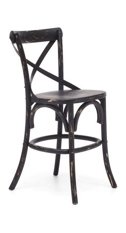 Zuo Modern - Union Square Counter Chair Antique Black - Modeled after the most popular cafe chair in Europe, our versatile X-back counter chair comes in natural, antique black, and antique white. Frame is solid wood with antique metal accents.