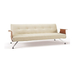 Innovation USA - Innovation USA Clubber 03 Sofa Walnut Arms - Chrome Legs - Black Leather Textile - A multifunctional and modular design intended for your living room.