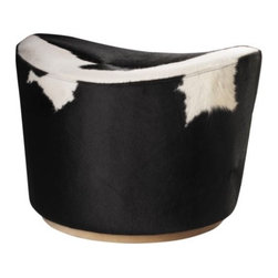 Ikea Stockholm Footstool, Delikat White/Black - Moooooooove your way on to the cowhide trend, and add a pop of vivid black and white in one of nature's best graphics. This cowhide footstool is not only made with true-blue cowhide, but it swivels too! It would look great in a colorful and eclectic living room.