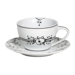 Miss Blackbirdy - Miss Blackbirdy Bird Porcelain Cappuccino Cup & Saucer, Set of 4 - Sip in stunning style with Miss Blackbirdy's cappuccino cup and saucer set crafted from grade-A porcelain and inspired by high fashion. Its enchanting imagery of birds, garlands, and wildflowers reminds us of the setting for a fairy tale, the black and white palette easy to mix and match. Miss Blackbirdy was conceived by Merel Boers, a Dutch fashion designer and artist whose designs artfully mix modern femininity with a touch of naivete. Includes four cappuccino cups and four saucersGrade-A porcelain Dishwasher and microwave safe7 oz.