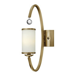 Hinkley Lighting - 4851BC Monaco Wall Sconce, Brushed Caramel, Etched Opal Metal Trimmed Glass - Transitional Wall Sconce in Brushed Caramel with Etched Opal Metal Trimmed glass from the Monaco Collection by Hinkley Lighting.