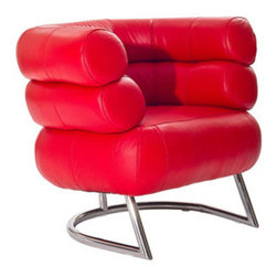 """LexMod - Michelin Armchair in Red - Michelin Armchair in Red - The Michelin Chair is a welcoming and jovial piece like no other. Like a companion that never parts, two outstretched semi-circular padded tubes establish the free expression of affinity. Reach beyond and engage inner contentment as you sit ensconced in this signature assemblage. Set Includes: One - Michelin Chair For living or lounge rooms , Tubes covered in soft leather, Chrome-plated stainless steel legs Overall Product Dimensions: 33""""L x 36""""W x 29""""H Seat Dimensions: 19.5""""L x 15""""W x 17""""HBACKrest Height: 13""""H Armrest Height: 28""""H - Mid Century Modern Furniture."""