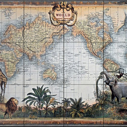 The Tile Mural Store (USA) - Tile Mural - World Map - Kitchen Backsplash Ideas - This beautiful artwork by Unknown has been digitally reproduced for tiles and depicts a world map with an elephant in the foreground.  Tile murals of maps are timeless and are excellent to add to your kitchen backsplash tile project or your tub and shower surround bathroom tile project. Images of maps on tiles add a unique element to your tiling project and are a great kitchen backsplash idea. Use a map tile mural for a wall tile project in any room in your home where you want to add interest to a plain field of wall tile.
