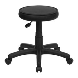 Flash Furniture - Flash Furniture Medical Ergonomic Stool in Black - Flash Furniture - Drafting Chairs - KC96GGG - This backless stool is practical for any fast-paced environment. The small frame design of a backless stool makes it easy to maneuver around tight spaces with ease. This stool can be used in a multitude of environments from the Classroom, Doctor's Offices, Hospitals, Garages and Workshops. The durable vinyl upholstery makes it easy to clean when working with liquids that can damage and stain your seat. The adjustable height and comfortably cushioned seat makes this stool a great buy to exceed your expectations. [KC96G-GG]