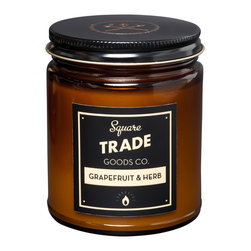 Square Trade Goods Co. - Grapefruit and Herb Soy Candle - Grapefruit & Herb - The tart, sweet scent of ruby red grapefruit mixed with the earthy resinous scent of fresh sage.