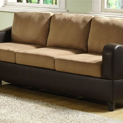 Homelegance - Anthony Upholstered Sofa - Contemporary style. Pocket-coil seat cushion. Brown and dark brown upholstery. Made from microfiber and bi-cast vinyl. 80 in. L x 33 in. W x 34.5 in. H