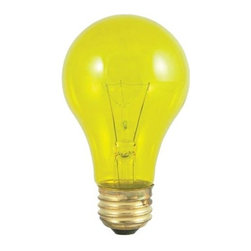 Bulbrite - Transparent Incandescent Bulbs in Yellow - 24 - One pack of 24 Bulbs. 120V A19 standard E26 medium base bulb. 360 degrees beam spread. Vibrant transparent colored party bulbs. Fade-resistant coating. Great for adding a touch of color to any fixture. Great for sign, display, amusement and theater. Lamps may vary in color when lit. Dimmable. Average hours: 2500. Color temperature: 2700 K. Color rendering index: 100. Wattage: 25 watt. Maximum overall length: 4.25 in.