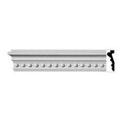 "The Renovators Supply - Crown Moldings UrethaneCountry Club Crown Molding - Ornate | 11613 - Crown Moldings: Made of virtually indestructible high-density urethane our crown molding is cast from steel molds guaranteeing the highest quality on the market. High-precision steel molds provide a higher quality pattern consistency, design clarity and overall strength and durability. Lightweight they are easily installed with no special skills. Unlike plaster or wood urethane is resistant to cracking, warping or peeling.  Factory-primed our crown molding is ready for finishing.  Measures 96""x4""."