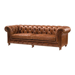 "Four Hands - Conrad 96"" Sofa - At first, this tufted leather sofa conjures up long-ago scenes from an old English library. Later, as you tuck yourself cozily between the high rolled arms and cushioned seat, the sumptuous pleasure of genuine leather takes you back home."