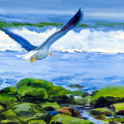 Sea Gull And Waves At California Beach Artwork - This large 24in. X 18in. original oil landscape painting on stretched canvas, in.Sea gull At A Southern California Beachin. by Warren Keating, is an original marine landscape painting for sale depicting the Coast of California and Pacific Ocean with a seagull flying over waves crashing on the rocky seashore. This unique Contemporary Western Seascape of the Pacific coastline will make a great gift or fine addition to your decor. When you purchase this Impressionist cityscape, you will receive an original work of Contemporary Art from an internationally-collected, award-winning artist painted on 1.5 inch, heavy duty stretched canvas finished with hand-painted edges for a refined look, ready to hang even without a frame, saving hundreds.