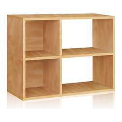 Way Basics - Way Basics 2 Shelf Chelsea Bookcase, Natural - A creative coupling of squares and rectangles keeps clutter under control, while a combo of open and closed backs lends extra convenience. Ideal for dorm rooms, home offices — wherever you need ready access to your stuff. Assembles quickly (just peel, stick and stow!) and is formaldehyde- and VOC-free.