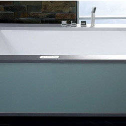 Alfi Trade Inc - Eago Right Drain 6 Ft. Modern Whirlpool Bathtub with Colored Light Up Glass Pane - Shop for Jetted/Whirlpool from Hayneedle.com! The Eago Right Drain 6-foot Modern Whirlpool Bathtub with Colored Light-Up Glass Panel brings a world of style and relaxation to your modern bathroom. This beautiful tub has 21 hydro massage jets that provide relaxing and rejuvenating therapy in 6 different modes a digital stereo sound system 7 differed LED color schemes in chromotherapy lighting with a full-length light-up side panel and a super-advanced touch screen control panel that puts you in charge of it all. There's a built-in inline heater advanced faucet and right-hand drainage all built in glass stainless steel and Eago MaxLoad high-gloss acrylic.About EagoEago is a company dedicated to the idea that the things that fill your home needn't be mundane. By applying an incredible level of detail and craftsmanship to well-designed porcelain products Eago elevates the modern bathroom while staying true to classic principles. Sinks tubs showers are all crafted in a way that elevates the modern bathroom like no other.
