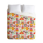 DENY Designs - Valentina Ramos Cute Little Owls Duvet Cover - Turn your basic, boring down comforter into the super stylish focal point of your bedroom. Our Luxe Duvet is made from a heavy-weight luxurious woven polyester with a 50% cotton/50% polyester cream bottom. It also includes a hidden zipper with interior corner ties to secure your comforter. It's comfy, fade-resistant, and custom printed for each and every customer.