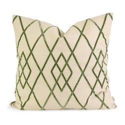 iMax - iMax IK Ayaka Green Velvet on Linen Pillow w/ Down Fill X-96124 - Iffat Khan has developed a luxurious collection of down pillows with velvet details and top of the line fabrics. Iffat's refined aesthetic is evident in her collection which combines clean modern, classic casual and timeless traditional styles with her own creative twist.