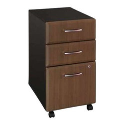 BBF - Bush Series A Three-Drawer File in Sienna Walnut/Bronze - Bush - Filing Cabinets - WC25553XX - This three drawer file pedestal will give any office the storage space it needs. It is mobile on dual wheel casters so it can easily roll under desks when not in use. The file pedestal also features two box drawers for small office supplies and a lockable letter/legal sized file drawer. It is finished in Sienna Walnut with Bronze vertical supports and comes ready to assemble.  2 box drawers for storage Single lock secures the bottom 2 drawers Holds letter or legal sized files File drawer opens on full-extension ball-bearing slides Easy mobility on casters Fits under all Series A desks Specifications: Overall Dimensions: 27.88 in. H x 20.25 in. D x 15.75 in. W