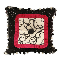 Artistic Sensations - 18 x 18 Black/ White Polka Dot Trim Pillow - Part of our vibrant pink, black, and white damask print bedding collection, the 18 x 18 pillow is sophisticated with its black and white swirl center, 2 inch thick hot pink ruffle and black and white polka dot trim. To top it off, it features white and black pom poms around the perimeter of the pillow. A one of kind pillow!
