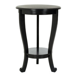 Safavieh - Safavieh Mary Distressed Black Pedastal Side Table X-B1175HMA - The Mary Pedestal Side Table with a Distressed Black finish on Pine is the perfect accent for any room in need of a feminine touch. With graceful curves and simple cabriole legs, Mary offers a round table Top and a smaller bottom shelf to hold your treasures.