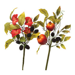 ZiaBella - Morning Glory Pomegranate Pick – Set of Two - Enjoy the beauty of nature year-round with this charming pick set. It breathes freshness into your room when displayed on the mantelpiece and can add a touch of whimsy to a handcrafted bouquet.   12'' to 13'' H Faux silk / twig Imported