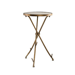 InnerSpace Luxury Products - InnerSpace Stick Table Collection with Black Stone Top Surface - InnerSpace Occasional Table Collection features natural inspiration and chic elegance.  Combined in this contemporary and stylish tripod accent table, completed by a warm, antique bronze finish and three bound, stick-shaped legs.  At 13.75L x 13.75W x 23.75H, it is designed to accompany any room or decor.  These lightweight tables feature a black stone top surface.  Match it with any piece of furniture, from your bed to your living room sofa.  One Year Limited Manufacturer Warranty.