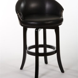 Hillsdale Furniture - Swivel Stool (30 in. Bar Height) - Choose Size: 30 in. Bar HeightDark cherry hardwoodFull, relaxed backSeat has black faux leather360 degree swivel . 26 in. W x 25 in. D x 35 in. H (30 lbs.)A comfortable classic, the Dartford Stool has a sophisticated, old school lounge sensibility sure to be at home in your favorite spaces. Constructed of dark cherry hardwood, the Dartford has a full, relaxed back and 360 degree swivel seat covered in stylish and sleek black faux leather. Pewter finished studs accent the arms. Some assembly required.