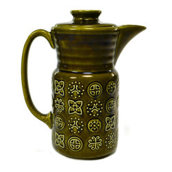 Lavish Shoestring - Consigned Green Coffee Pot by Lord Nelson Pottery, Vintage English, circa 1970 - This is a vintage one-of-a-kind item.