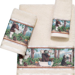 Avanti Linens - Taking Care Of Business 3 Piece Cotton Towel Set by Avanti Linens - Avanti brings character to your bathroom. These Taking Care of Business bath towels lend light-hearted fun to your decor. Give guests something to talk about with these silly animal-themed terry towels. The towels are beige in color.