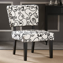 Linon - Taylor Fabric Slipper Chair - Features: -Side chair.-Vintage/modern style.-No-sag sinuous loop steel springs.-Substantial and durable padding for long lasting comfort.-Upholstered in white with black circles fabric.-Frame construction: Sturdy hardwood.-Frame finish: Rich Black.-Collection: Taylor.-Distressed: No.Dimensions: -Dimensions: 33.86'' H x 23.03'' W x 28.15'' D.-Overall Product Weight: 22.25 lbs.