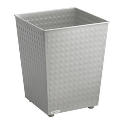 Safco - Safco Checks Wastebasket in Gray (Set of 3) - Safco - Waste Baskets - 9733GR - These steel wastebaskets feature a modern design with a unique stamped finish. Rubber feet on the bottom prevent scuffing. The top edge is rolled to prevent sharp corners while adding support to the structure. Powder coat finish 6 gallon capacity.