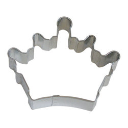 "RM - Queen Crown 3.5 In. B0897 - Queen Crown cookie cutter, made of sturdy tin, Size 3.5"" wide by 2.75"" tall in the middle. Depth 7/8 in., Color silver."