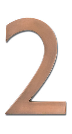 """Architectural Mailboxes - 4"""" Floating House Number Antique Copper """"2"""" - If you are looking to create an even warmer welcome to your home, you may want to consider these brass house numbers, available in a glowing antique copper finish."""