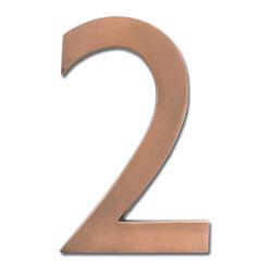 "Architectural Mailboxes - 4"" Floating House Number Antique Copper ""2"" - If you are looking to create an even warmer welcome to your home, you may want to consider these brass house numbers, available in a glowing antique copper finish."