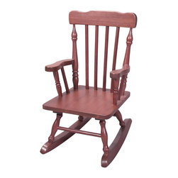 Gift Mark - Gift Mark Home Kids Children Resting Spindle Rocking Chair Cherry - The Gift mark Hand Crafted Colonial Rocking Chair is Designed for Beauty and Durability. Each Spindle is Hand carved, with Great Detail. Each Spindle Rocking Chair is Crafted from Solid Wood. This Rocking Chair is built to Last, and will be part of your Family for Generations. Easy to Assemble. Includes All Tools For Assembly.