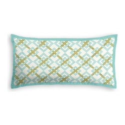 Aqua & Green Diamond Lattice Custom Lumbar Pillow - The perfect solo statement on a modern chair or bed, the rectangular lines of the Tailored Lumbar Pillow are effortlessly chic.   We love it in this bright aqua and grass green geometric on a smooth sateen cotton. This interlocking diamond pattern will fit any modern decor.  Is this duck or sateen?