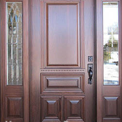 Homestead Doors, Inc. - Solid Mahogany Custom Made Front Door with Sidelites - Entryway and door design, installation, and photo by Edgework Builders, Excelsior, MN.