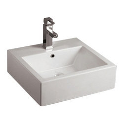 Whitehaus Collection - Whitehaus WHKN1059 Ceramic Rectangular Above Mount Bathroom Sink Basin - Whitehaus Collection bathroom sinks are modern sleek and stylish. A great option for anyone that wants a unique and eye catching bathroom design!