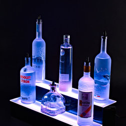 "2 Tier Led Lighted Back Bar Liquor Bottle Shelf Display - 24 Inch (Color Changin - 24"" 2 Tier Led Lighted Color Changing Back Bar Liquor Bottle Shelf Display - 24 Inch by Armana Productions."