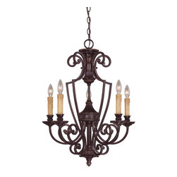 Savoy House Lighting - Savoy House Lighting 1P-50218-5-16 Knight Traditional Classic Chandelier - Rich details and classic styling accentuate the Knight collection from Savoy House. The bold lines are enhanced by a rich Antique Copper finish and Antique Marble glass.