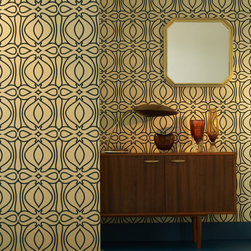 Graham and Brown - Baroque Wallpaper - Blue - The Baroque design epitomises Hulanicki's signature design style and her Art Deco influences but with a modern twist. Hulanicki explains, With this design we used a really rich color palette to create a Victorian-inspired geometric which is a good contrast with mid-century modern. This pattern uses Graham & Brown's paste the wall technology for easy application and removal in full strips.
