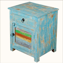 Rainbow Sky Reclaimed Wood Night Stand End Table - Add a splash of color and the freshness of a summer's day with our Rainbow Sky Night Stand. It's the perfect little cabinet for a children's room or extra vanity storage for the bathroom. Use it as an end table in a screened in porch or family room. It's built with reclaimed wood so it's a smart Green choice and the cabinet and drawer expands your storage. The mini cabinet stands off the floor on short feet.