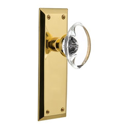 Nostalgic - Nostalgic Privacy New York Plate with Oval Clear Crystal Knob, Polished Brass - The clean lines and tailored style of the New York Plate in polished brass give a distinctive look that will last for years. Add our Oval Clear Crystal Knob, with its clean oval shape and smooth outward-curve, and you have the perfect accompaniment for Period, Rustic and Arts & Crafts style homes. All Nostalgic Warehouse knobs are mounted on a solid (not plated) forged brass base for durability and beauty.