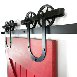 White Shanty - Double Spoked European Sliding Barn Door Hardware, Brushed Steel, 6ft - This is a beautiful double wheel vintage horseshoe sliding barn door hardware set. Made in the USA from high quality steel. ( Lifetime Warranty )